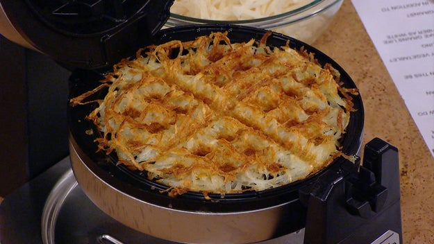 Make hash browns in a waffle iron.