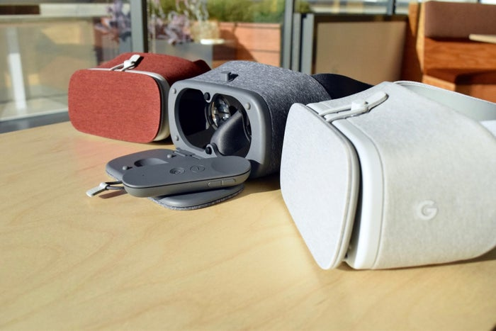 Today, Google debuted Daydream View, its take on a virtual reality headset for smartphones, designed to bring 360º movies, games, and photos to life. The announcement follows the launch of the Daydream VR platform for Android, which was introduced at Google I/O earlier this year.Daydream View is the successor to Google Cardboard, the dirt cheap, Android and iOS-compatible VR handheld introduced in 2014. Google's new headset, which competes with the likes of Samsung's Gear VR ($100), Zeiss's VR One Plus ($130) and LG 360 VR ($200), is more advanced than Cardboard in every way — but it still requires you to strap in a smartphone to work.It offers a more comfortable, hands-free experience, and access to an entirely new platform focused on low latency head tracking (in other words, speeding up the time between when you move your head and when the screen adjusts to match that movement).Daydream View will be available for pre-order on Oct. 20 through the Google Store and ships early November for $79. Before you mark your calendars, here's what you should know about Google's first attempt to strap an immersive photo and video machine on your head.