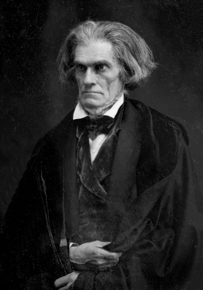 John Calhoun was the seventh vice president of the United States of America. He had angry hair, a murdery face, and a fluffy neck. He was the least hot vice president in all of American history.