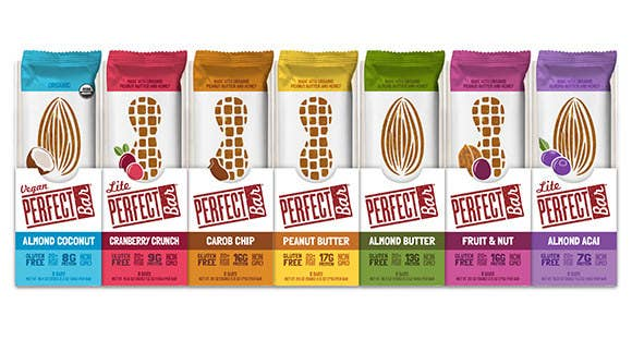 The refrigerated, nut-butter based nutrition bar from Perfect Bar boasts a smooth and creamy cool taste, along with between 17 and 19 grams of protein and more than 20 organic superfoods per bar. Perfect Bar is available in delicious and satiating flavors like Coconut Peanut Butter, Carob Chip, Fruit & Nut, Maple Almond and vegan Almond Coconut.