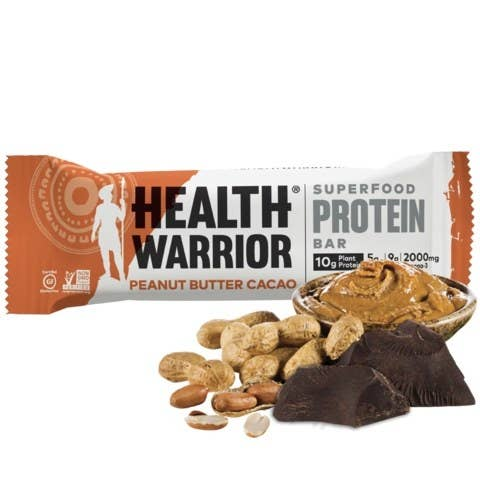As the name suggests, the Superfood Protein Bar from Health Warrior delivers 10 grams of clean, plant protein from a superfood blend of chia, quinoa, and oats. There is no soy or whey, and has only half the sugar of many protein bars. Try mouthwatering flavors like peanut butter cacao, dark chocolate coconut sea salt, and honey almond.
