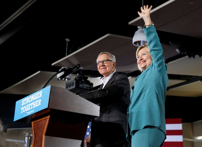 Hillary Clinton (right) and Harry Reid in Las Vegas in August.