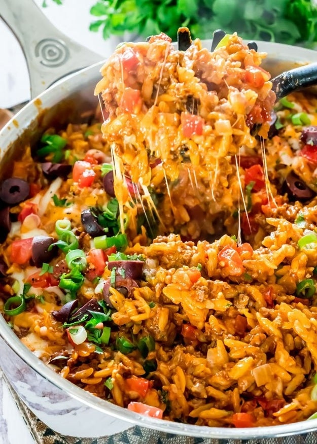One-Pot Cheesy Taco Orzo