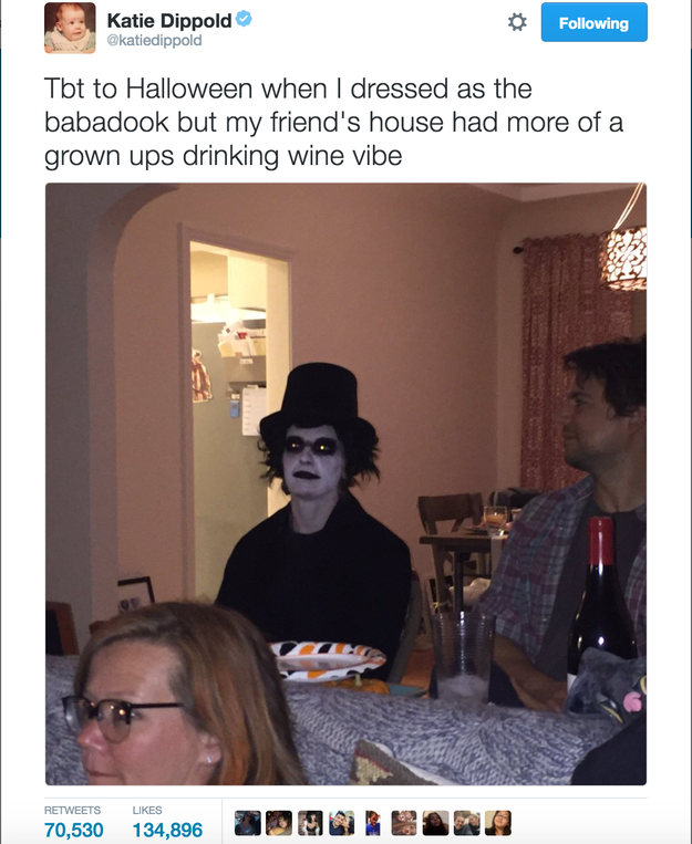 OK, so in June, screenwriter Katie Dippold tweeted a tbt about when she accidentally showed up to a party dressed like the Babadook. The tweet's been retweeted over 70,000 times. It's pretty much the best thing ever.