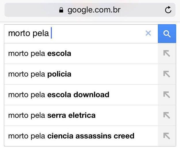 """Reproduzimos a busca e obtivemos o seguinte resultado ao googlar """"morto pela"""":"""