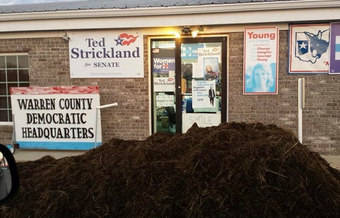 "In 2012, a manure pile was dumped in the same spot several weeks before the election. No one was arrested at that time. This time around, Democratic party chairwoman Bethe Goldenfield told BuzzFeed News the pile was cleaned up within a few hours, but the party is still waiting to hear what the cost will be. ""Having this happen again was a disappointment, but we simply had it cleaned up and kept on working with our volunteers and concentrating on getting out our voters,"" Goldenfield said.She added the party has received a number of supportive phone calls, as well as new offers from people to volunteer. ""They go low and we hold our head high and keep working to accomplish our goals,"" she said."