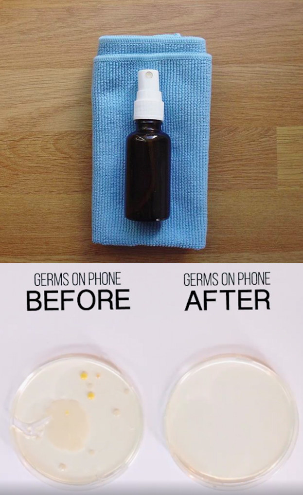 Rub down your phone with an alcohol and bottled water solution.