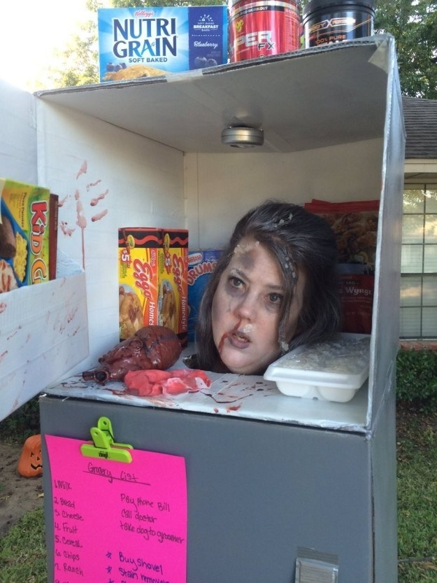 This mom who dressed as a severed head in a freezer.