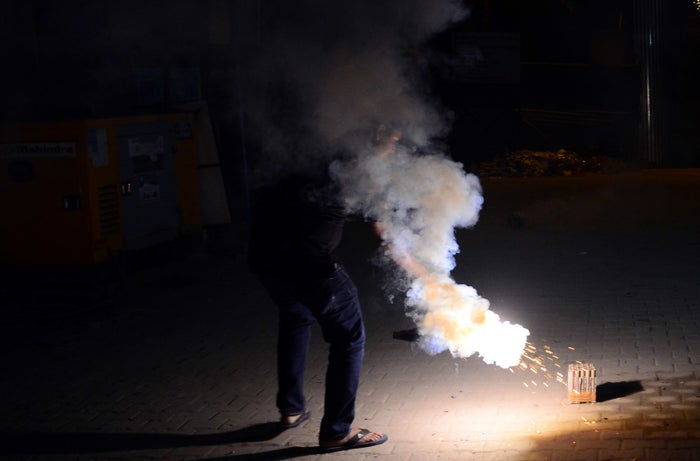 People set off fireworks during Diwali, the Hindu festival that celebrates the victory of good over evil.