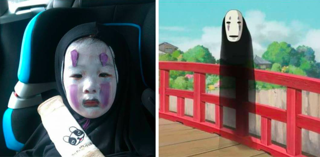 Momo's mother, Elmo Chen, asked her what she wanted to go as. Her answer: No-Face from the film Spirited Away.
