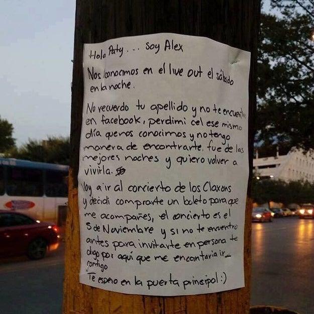 Dos días después del festival, apareció un cartel frente al Tec de Monterrey donde un chico llamado Alex mostró públicamente su obsesión por encontrar a Paty.