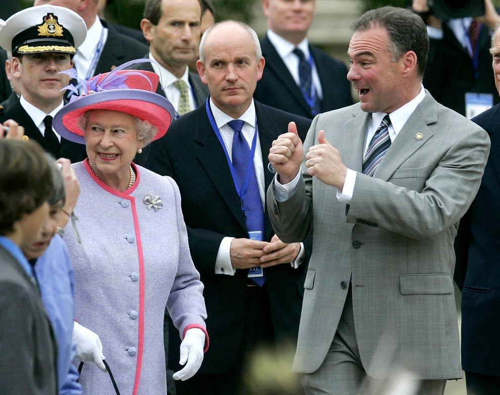 When his first reaction to meeting Queen Elizabeth was two big thumbs ups.