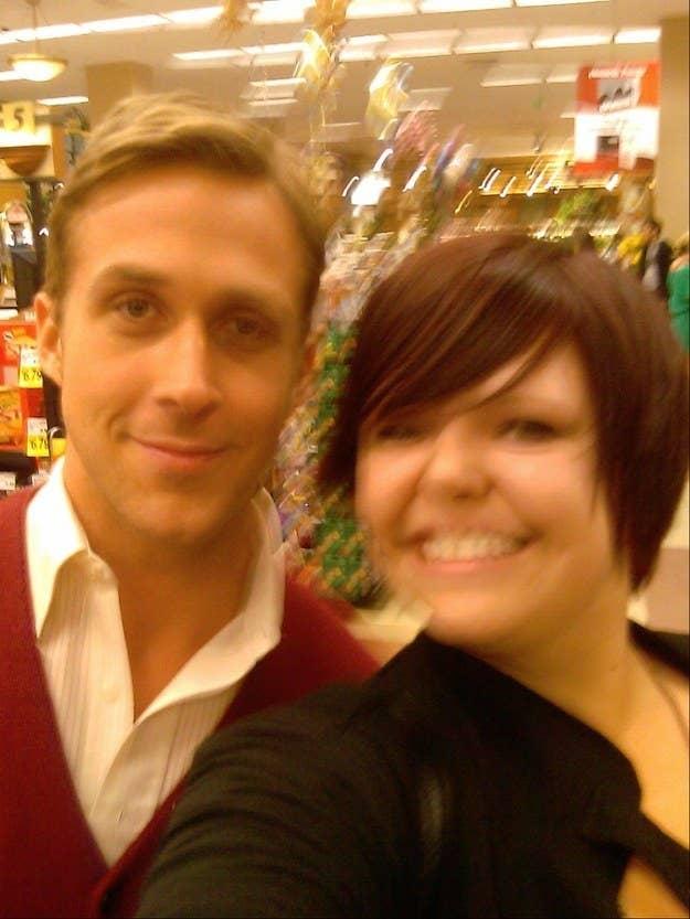 a blurry selfie of ryan gosling in a supermarket