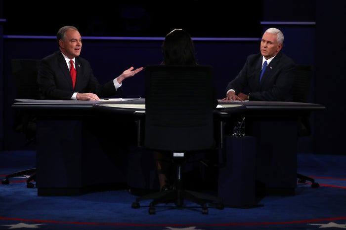 Republican vice presidential nominee Mike Pence (left) and Democratic vice presidential nominee Tim Kaine at Longwood University, Oct. 4, 2016.