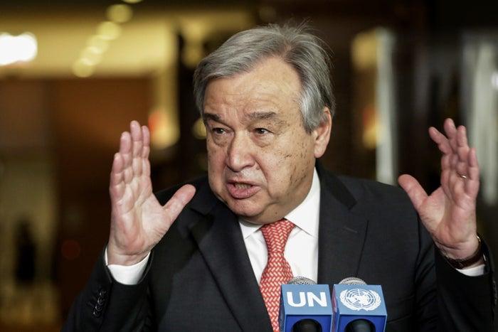 Antonio Guterres speaks to reporters on April 12, 2016