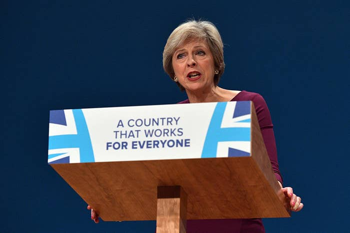 Prime Minister Theresa May delivers a speech in Birmingham, England.