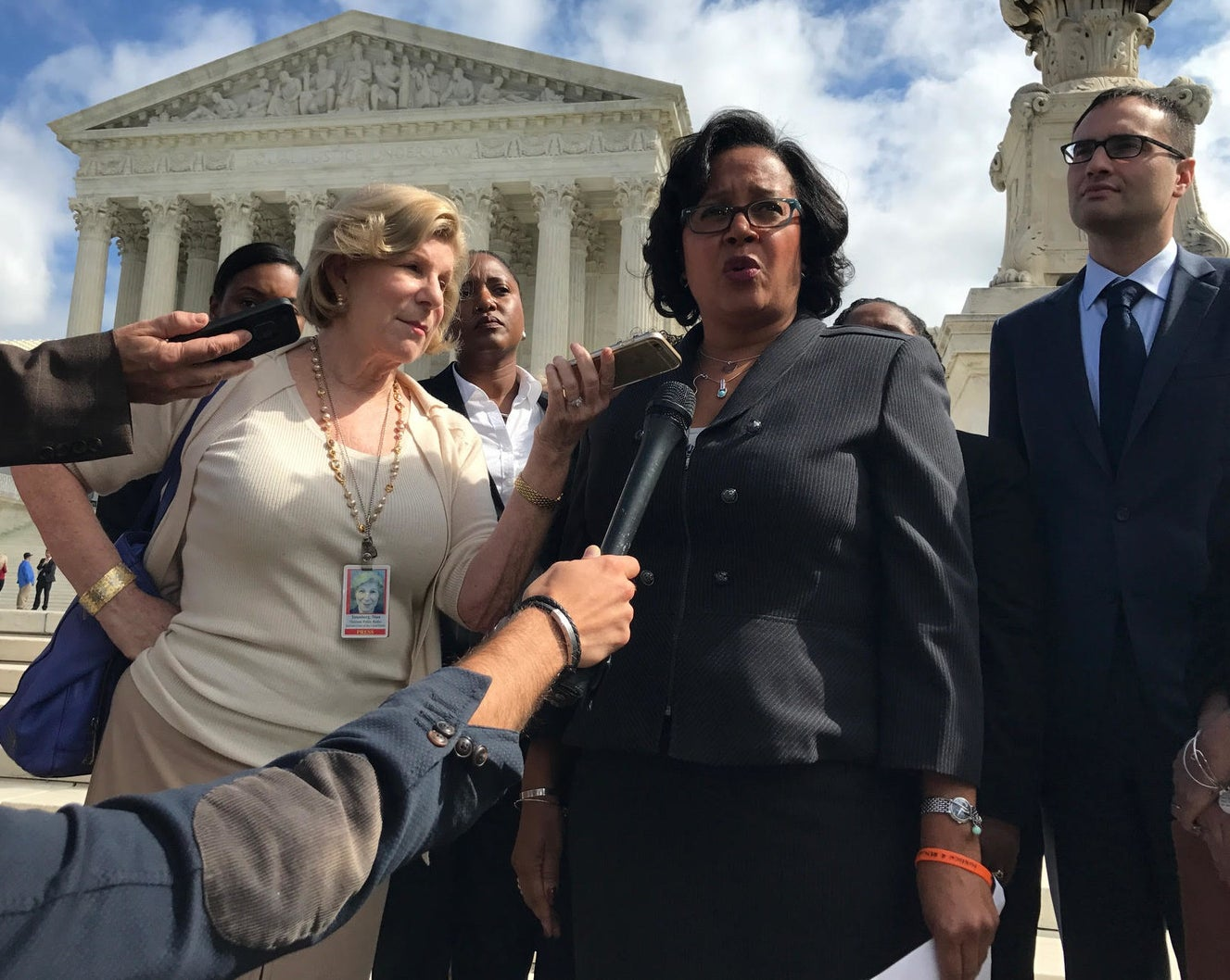 Christina Swarns, lawyer for Duane Buck, speaks to the media after arguments at the Supreme Court in Buck's case on Wednesday.