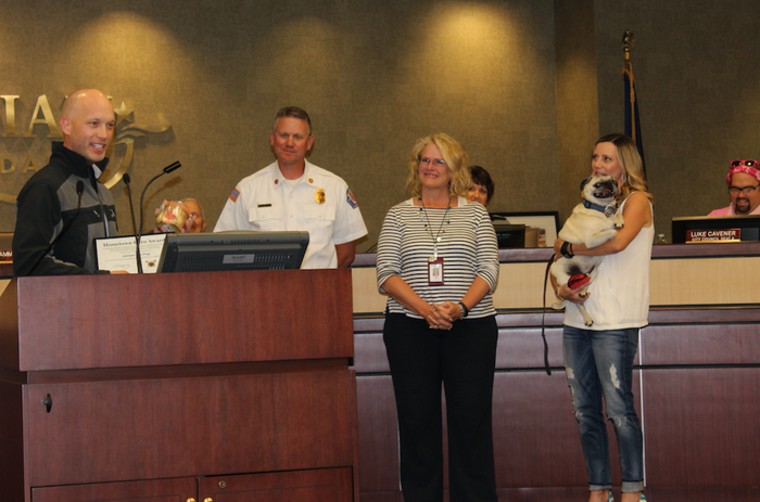 """He's the first animal to ever receive the local award.""""Jaxson's owners are very thankful for the pug's actions that night,"""" the spokesperson said. """"They know the fire could have been much worse if it were not for Jaxson."""""""