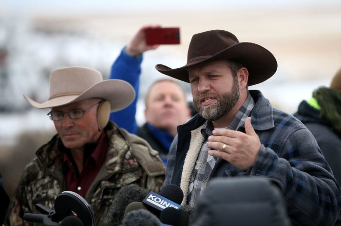 Ammon Bundy speaks to the media in front of the Malheur National Wildlife Refuge Headquarters on Jan. 5.