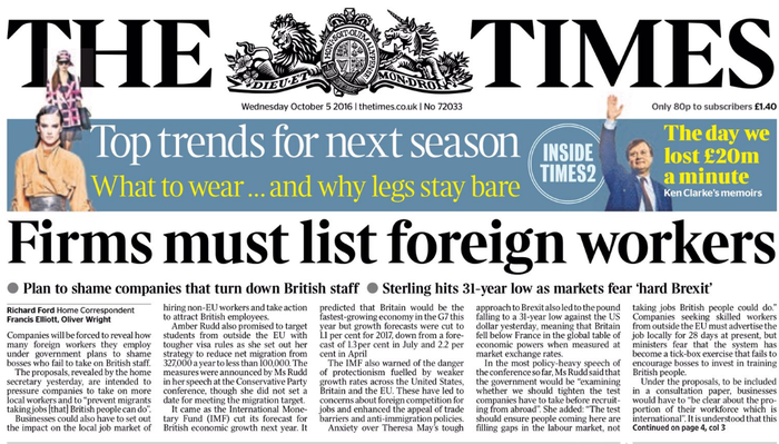 "Home secretary Amber Rudd's proposal that firms should list their foreign workers swiftly drew strong online criticism from Labour and SNP MPs, including shadow home secretary Andy Burnham, who tweeted the headline with ""Sorry, but no, we're not having this"", followed by:"