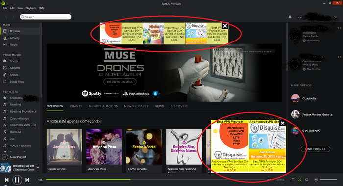 Spotify user Titaviana's Spotify application. Other Spotify users responded to her complaint by saying she should reinstall the application to get rid of the unsightly banner ads. She made her complaint in June 2015.