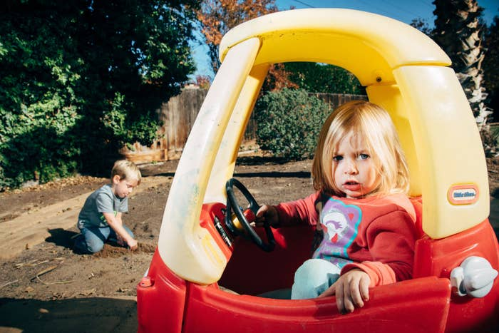 Jackson, 5, and Annabel, 3, in their backyard in Fresno in November 2015. Their parents, Jennifer and Chad Massingham, let the lawn in their backyard die in the summer of 2015.