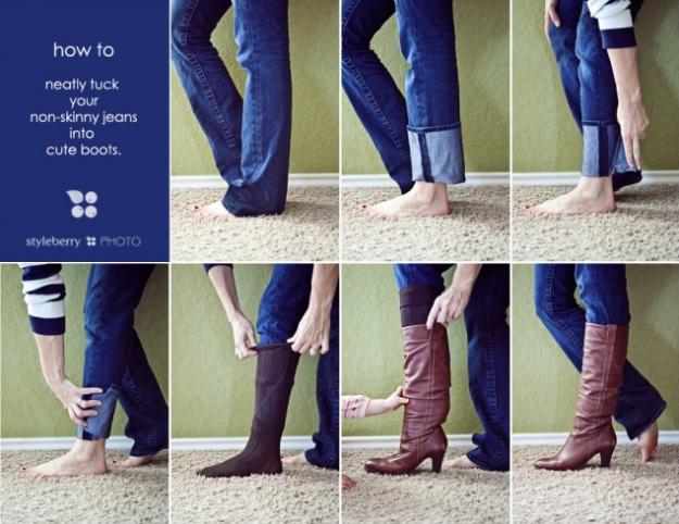Encaixe confortavelmente a barra das suas calças dentro das botas com um truque simples.