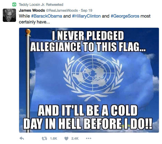 NB: He retweeted this meme from conservative actor James Woods just a day after it was announced that he'd be going to the UN to represent the Philippines.
