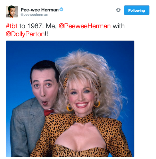 And finally, Pee-wee Herman shared this amazing photo of himself with Dolly Parton. The pic is true #TBT goals!