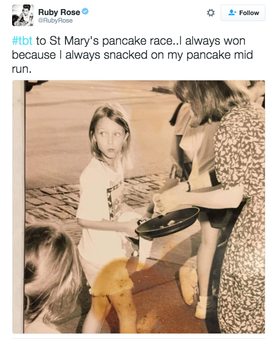 Ruby Rose shared this pic of herself participating in a pancake race.