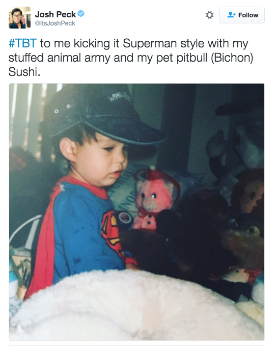 Josh Peck posted this cute photo of himself dressed up in Superman pajamas.