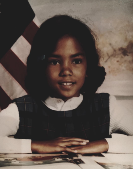 Halle Berry shared this adorable elementary school photo of herself.