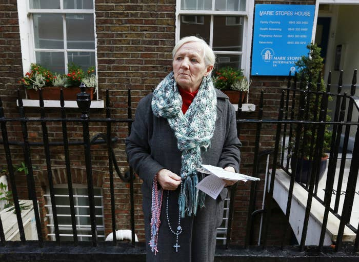 An anti-abortion campaigner outside a Marie Stopes clinic in London.