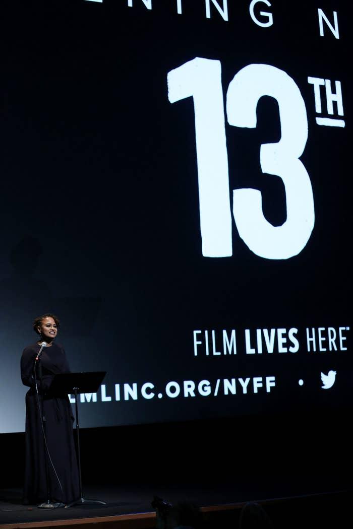 Ava DuVernay speaks at the New York Film Festival premiere of her Netflix documentary 13th.