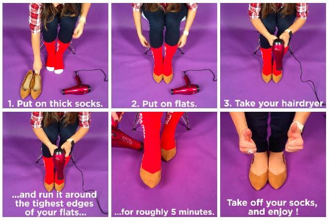 1. Coloque meias grossas. 2. Coloque as sapatilhas. 3. Pegue seu secador de cabelo. 4. Passe o secador pelas partes mais apertadas da sapatilha por mais ou emnos 5 minutos. Tire as meias e aproveite! —Arielle Calderon, FacebookVocê pode ver o vídeo do tutorial aqui.