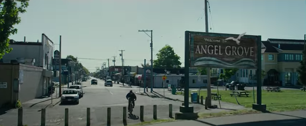 Bits of nostalgia, such as this Angel Grove sign, are sprinkled throughout the trailer.