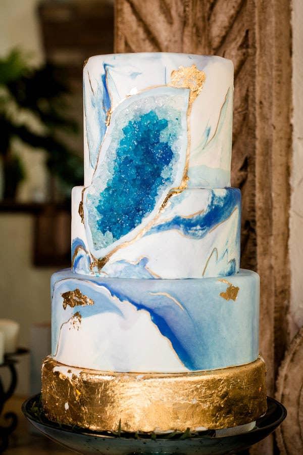 This Breathtaking Geode Wedding Cake