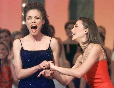Bridget Sullivan, right, shown congratulating Miss Tennessee USA in 2000.