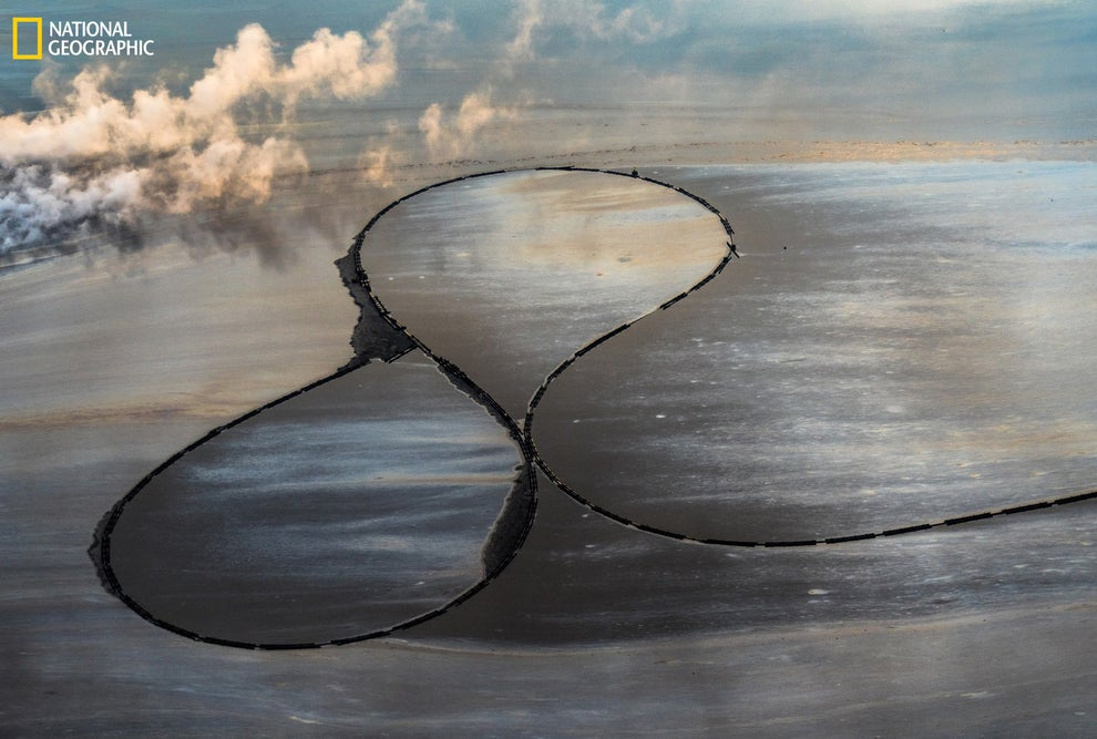 An infinity symbol made by oil sands in Fort McMurray, Canada.