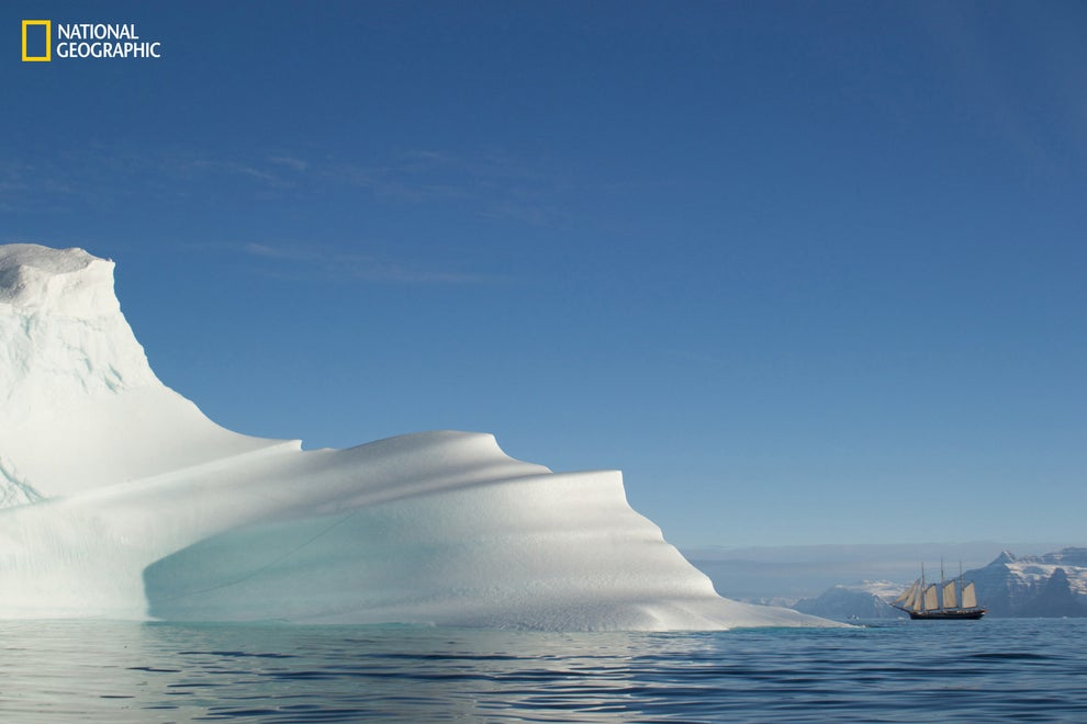 And glaciers looking massive next to a sailboat in Greenland.