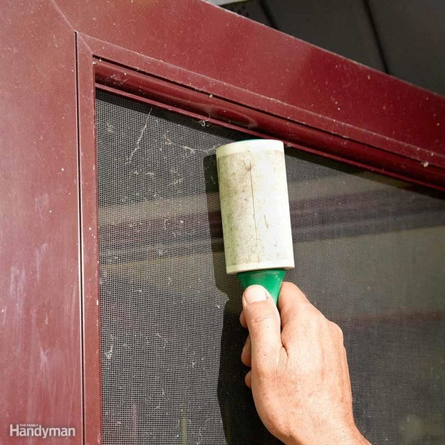 Clear the dust, cobwebs, and general fuzz from your window screens and screen doors using a lint roller.