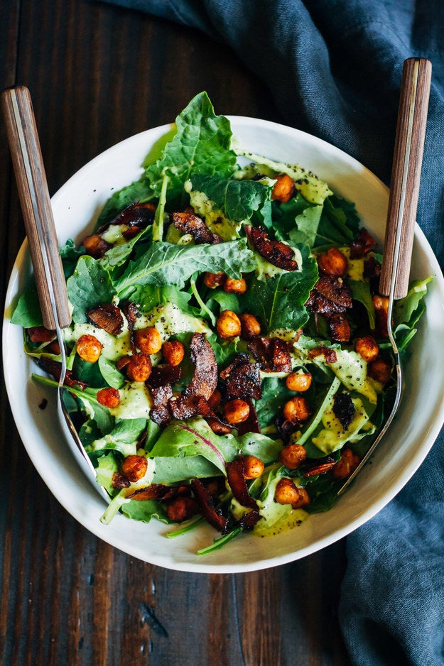 'This is my favourite vegan salad!! With homemade avocado dressing, spicy chickpeas, and coconut bacon :)' Recipe here.– lilmoose
