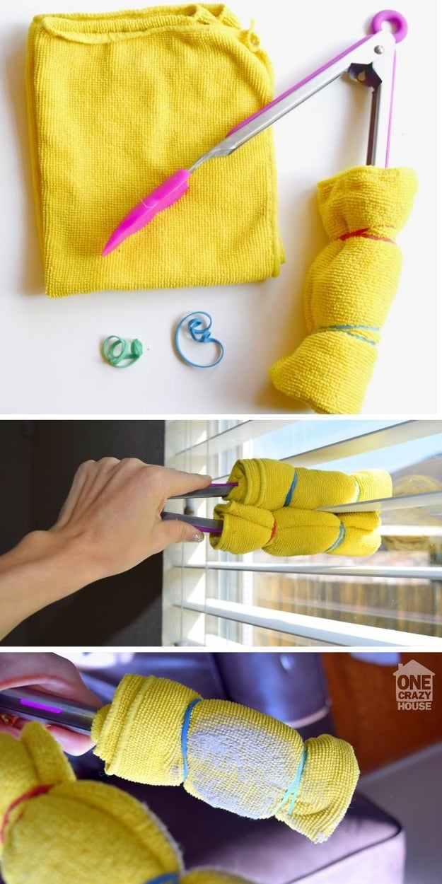Dust every individual blind on your window treatments, using this handy tongs trick to make it go quickly.