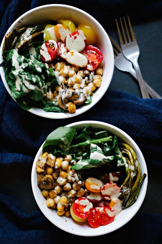 Chickpea and Mushroom Veggie Bowl