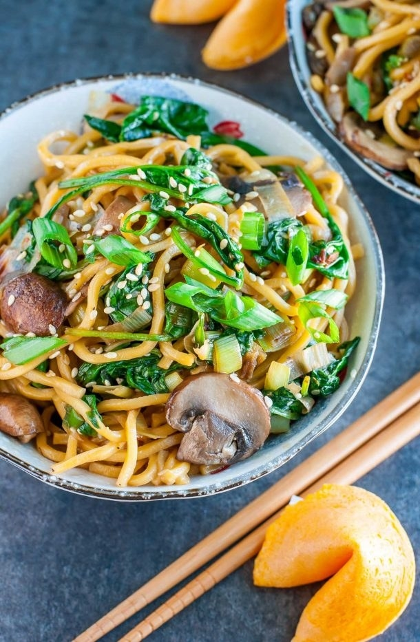 Spinach Mushroom Noodle Bowl