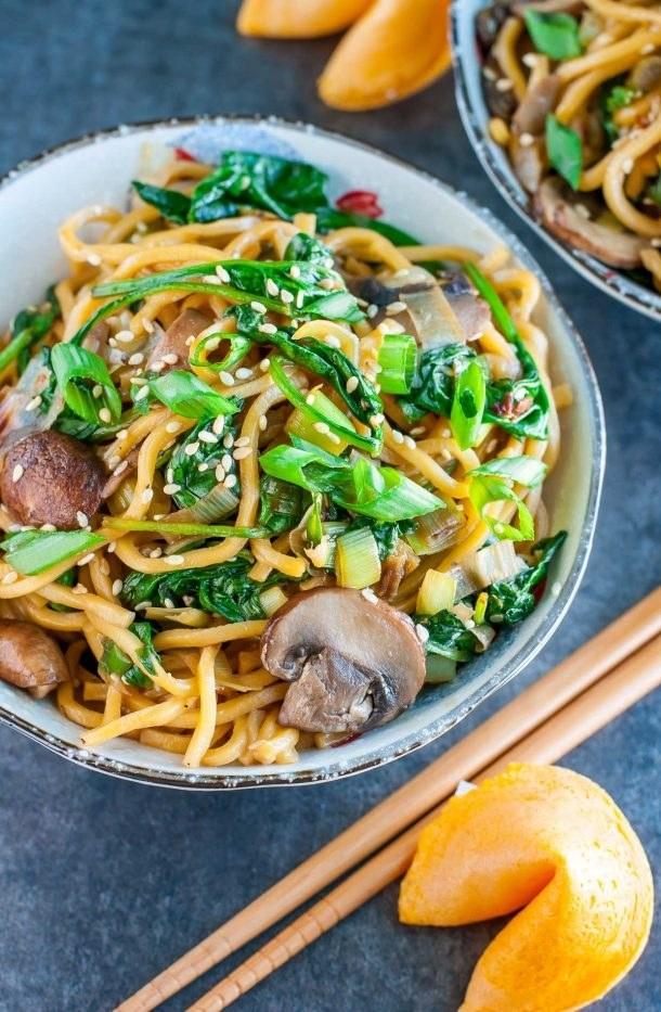 Spinach Mushroom Noodle Bowl