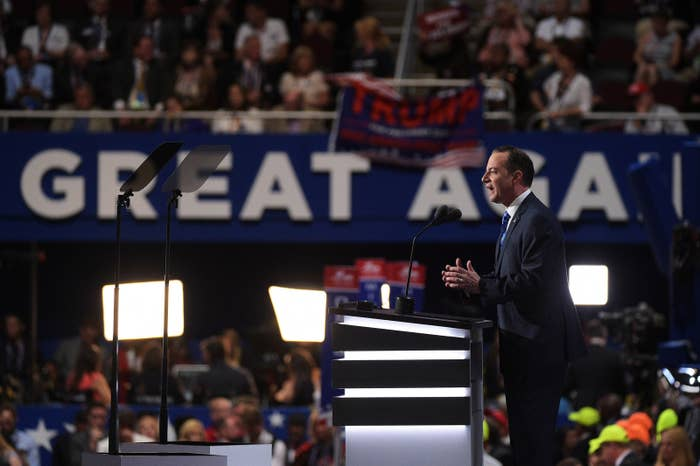 Reince Priebus speaks at the Republican National Convention.