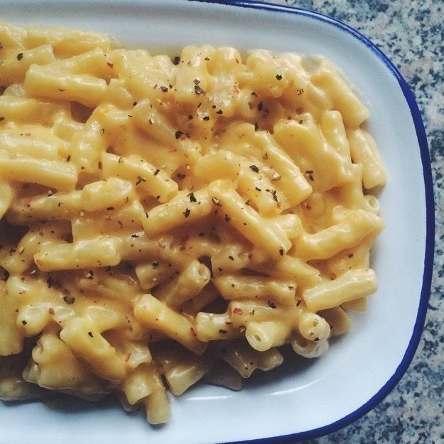 """""""Macaroni 'n' cheese was always one of my favourite comfort food dishes growing up and I was delighted when I discovered vegan mac 'n' cheese! The sauce in the one I make is made from Violife cheddar, homemade cashew milk, a little bit of coconut oil, Himalayan salt, and cracked black pepper. So simple, beautifully creamy, and non-vegans love it too!""""– Momoko Hill, Facebook"""
