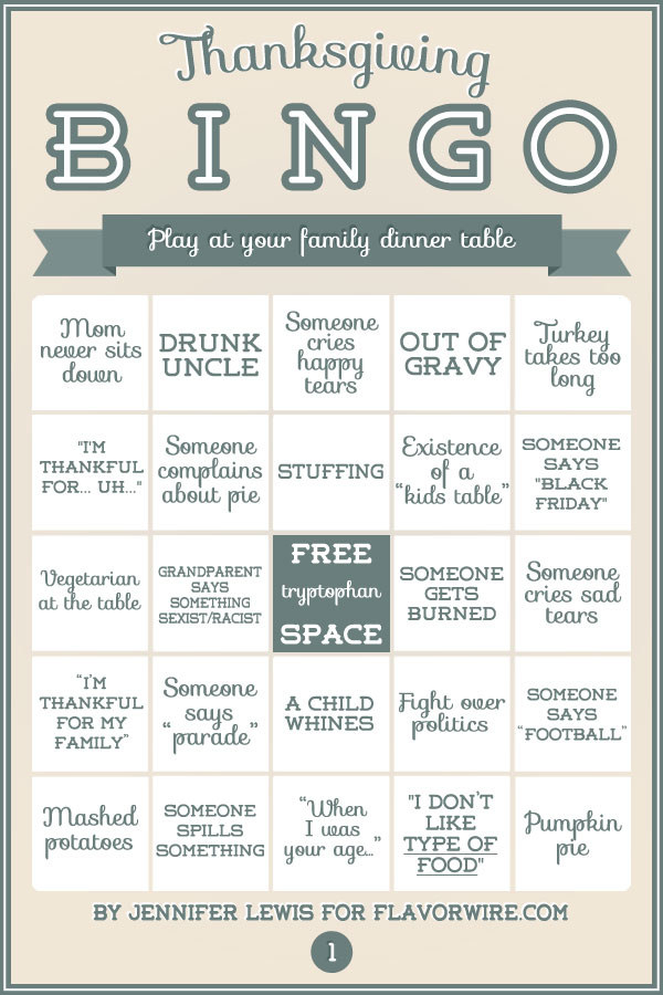 And BONUS! Print out these bingo cards for your family, then see who wins!