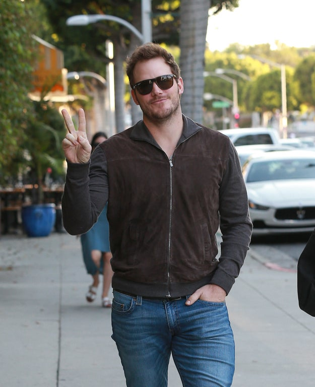 Chris Pratt gave a peace sign.